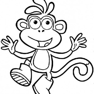 monkey says hello to you coloring page