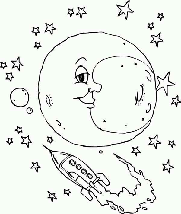 Moon And The Rocket Ship Coloring Page
