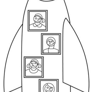 my family rocket ship vacation coloring page