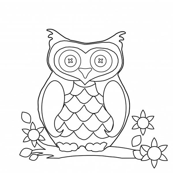 owl flat image coloring for kids - Download & Print Online ...