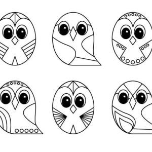 owl line art design coloring page