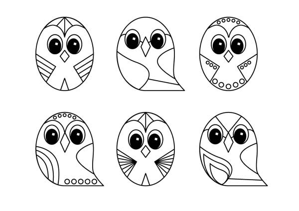owl line art design coloring page - Design Coloring Pages