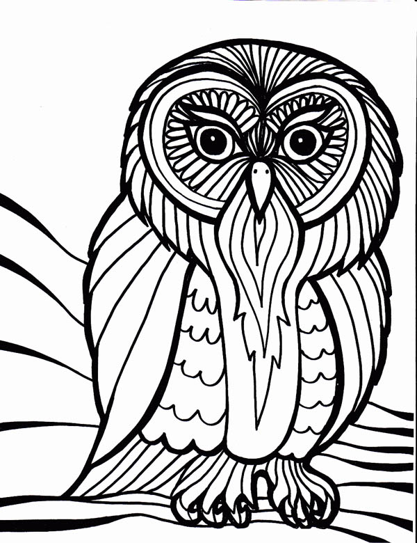 owl outline art coloring page - Download & Print Online Coloring ...