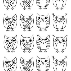 owls icons colorng page