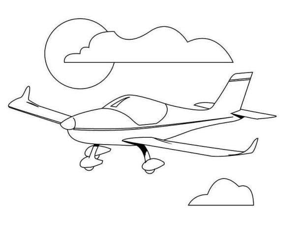 Airplane Pilot Training Airplain Coloring Page