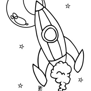 rocket ship and the moon coloring page