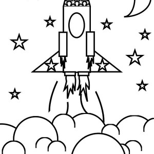 Rocket Ship And The Stars Coloring Space