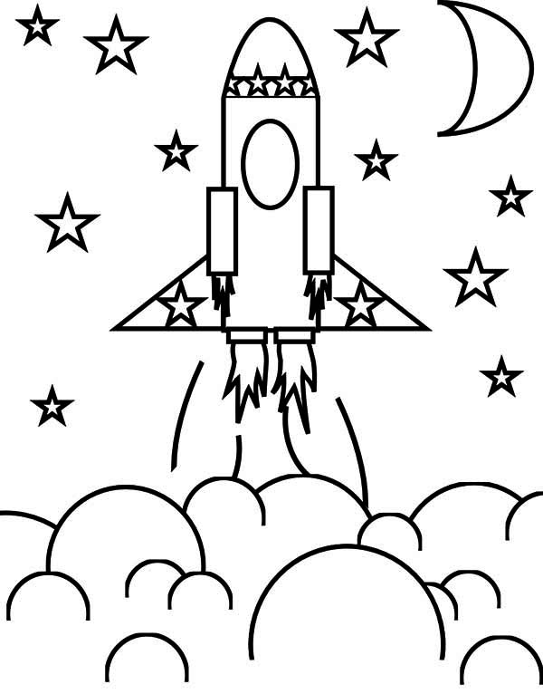 Delightful Rocket Ship And The Stars Coloring Space Coloring Page