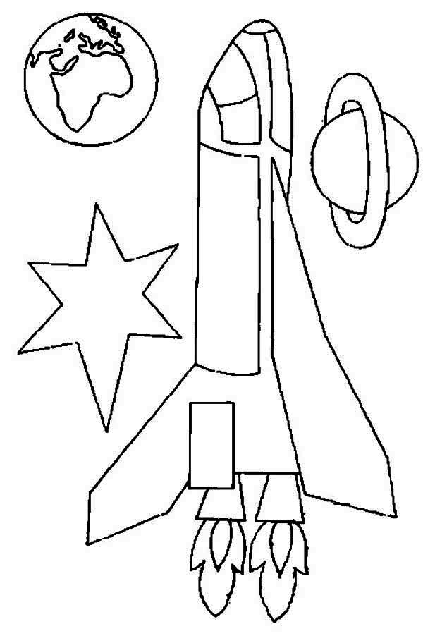 rocket ship earth and saturn coloring page  Download  Print