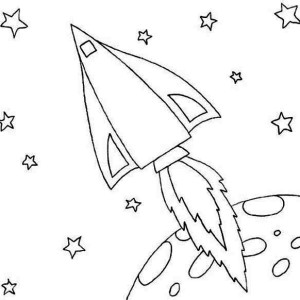 rocket ship leaving the moon orbit coloring page