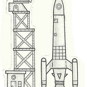 rocket ship near launching tower coloring page