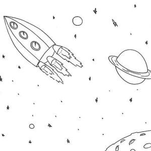 rocket ship near saturn coloring page
