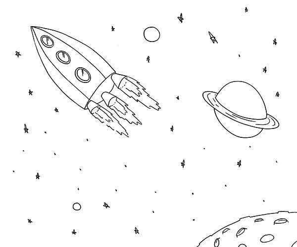 rocket ship near saturn coloring page Download Print Online