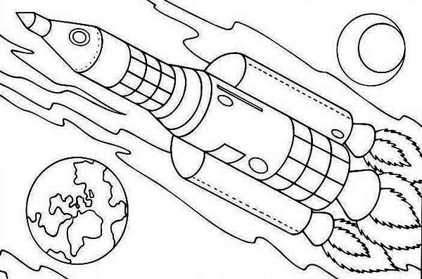 Rocket Ship On Earth Orbit Coloring Page: Rocket-ship-on