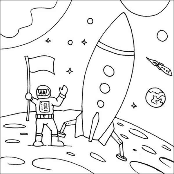Rockets Ship, Rockets Ship And Astronaut Landing On The Moon Coloring Page: Rockets  Ship