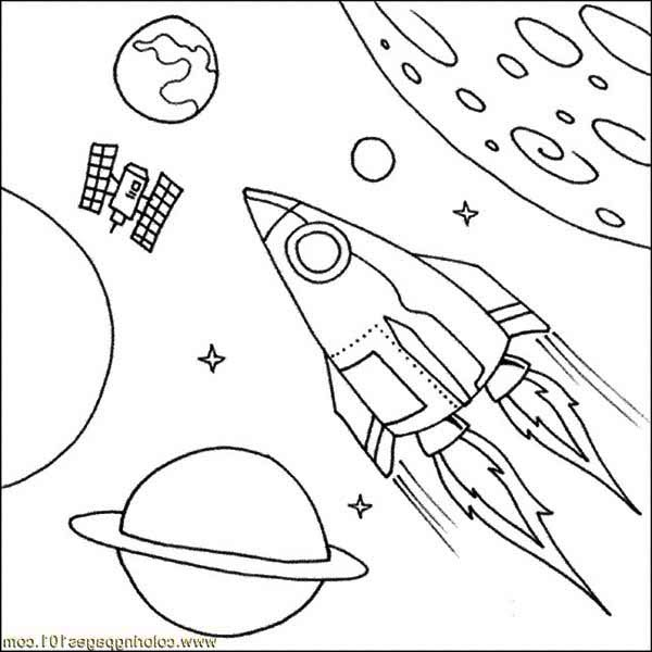 rockets ship satellite spaceship coloring pagejpg
