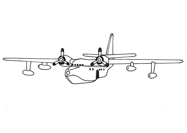 Airplane Seaplane Coloring Page For Kids KidsFull Size