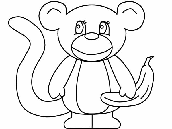 Monkey Simple Drawing Coloring