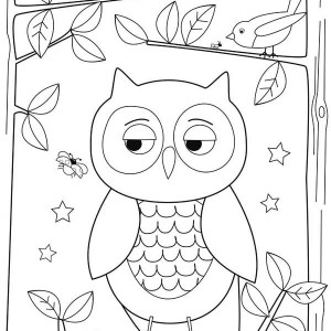 simple owl drawing for kids