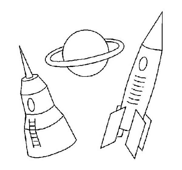 Space Rocket Saturn And Space Dock Coloring Page Download Saturn Coloring Page