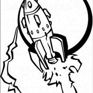 spaceship and the moon coloring page