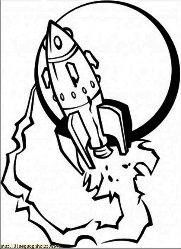 Rockets Ship, : Spaceship And The Moon Coloring Page.