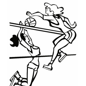 spike and blocking volleyball coloring page