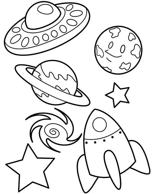 rockets ship ufo rocket star blackhole earth coloring - Space Coloring Pages