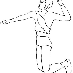 volleyball girl team spike coloring page