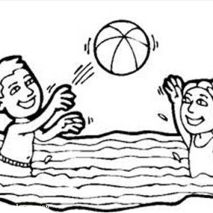 Volleyball In A Swimming Pool Coloring Page