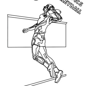 Volleyball Olympics Sports Coloring Page