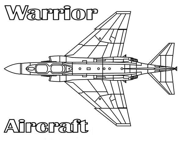 Airplane Warrior Aircraft Coloring Page