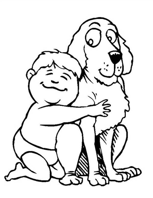 a baby and a dog are best friend coloring page