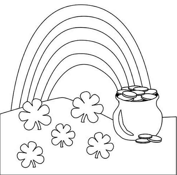 a beautiful rainbow and a pot of gold coloring page - Coloring Pages Rainbow Pot Gold