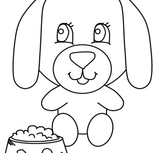 A Big Head Dog and His Meal Coloring Page
