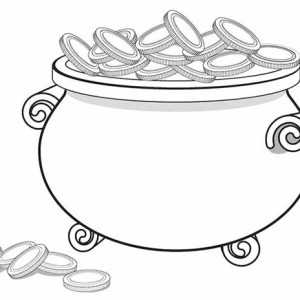 A Giant Pot of Gold Full of Coins Coloring Page