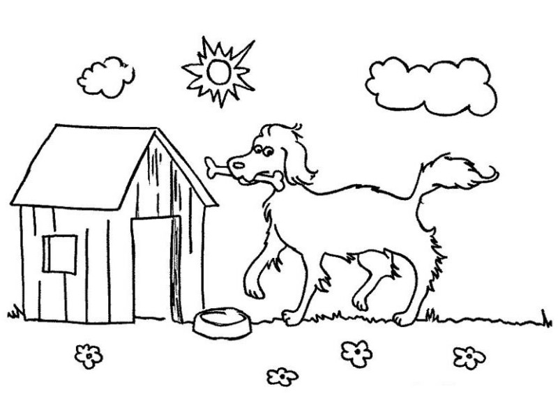 Dog A Happy And Its Lovely Home Coloring Page