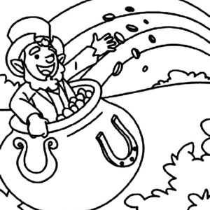 a leprechaun inside a pot of gold coloring page