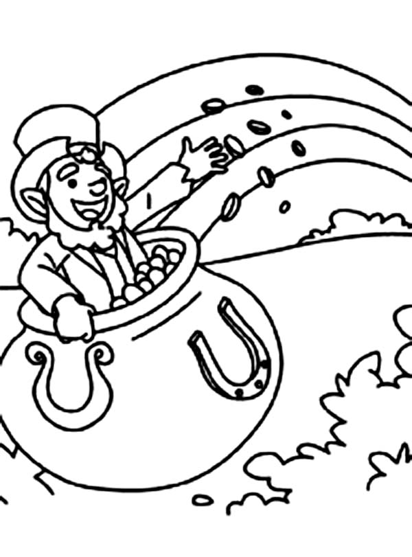 leprechaun and pot of gold coloring pages - a leprechaun inside a pot of gold coloring page download