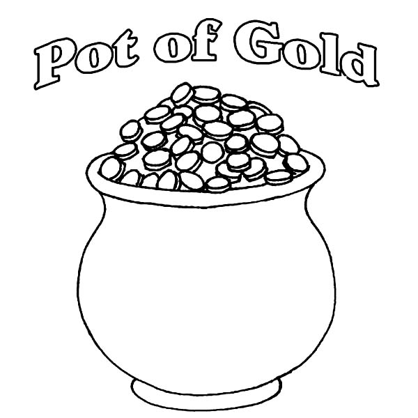 A Pot of Gold Full of Coins Coloring Page Download Print