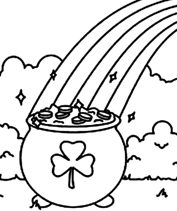 a pot of gold with a shamrock symbol coloring page