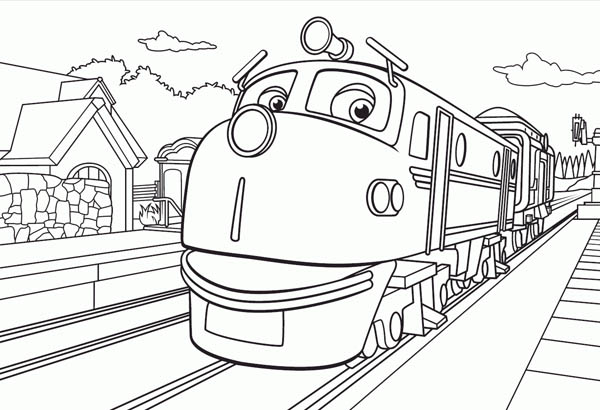 Action chugger going to town in chuggington coloring page for Chuggington coloring pages