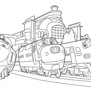 Action Chugger and Brewster and Chatsworth of Chuggington Coloring Page