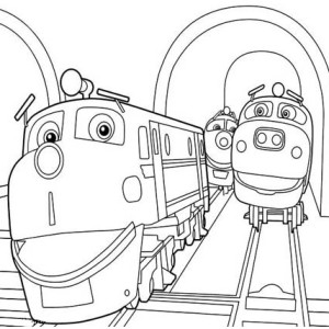 Action Chugger and Friends Happy Together Chuggington Coloring Page