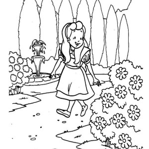 Alice Walking Around the Garden in Alice in Wonderland Coloring Page