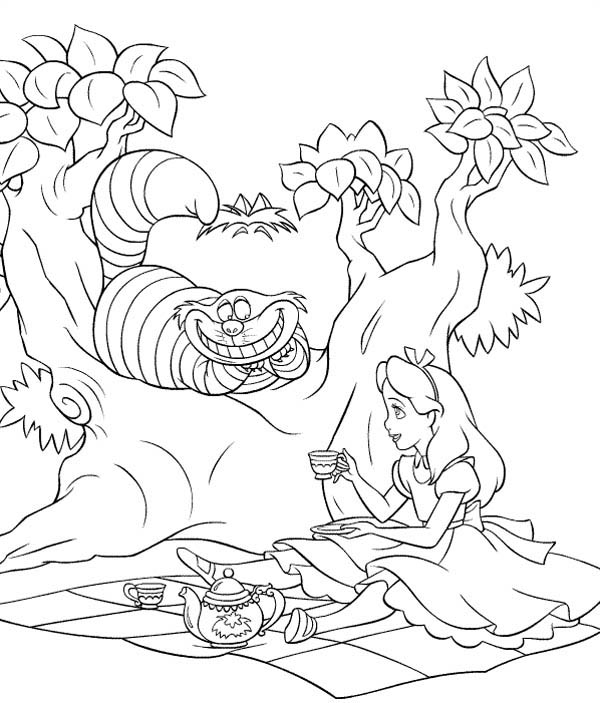 alice and cheshire cat drink tea in alice in wonderland coloring page - Alice In Wonderland Coloring Pages