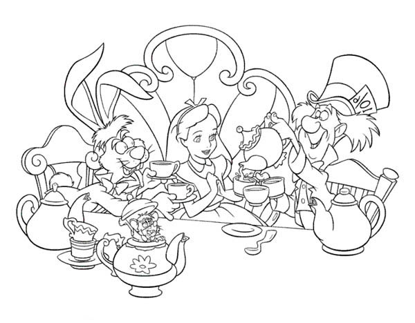 alice and mad hatter and white rabbit drink tea in alice in wonderland coloring page - Alice Wonderland Coloring Pages
