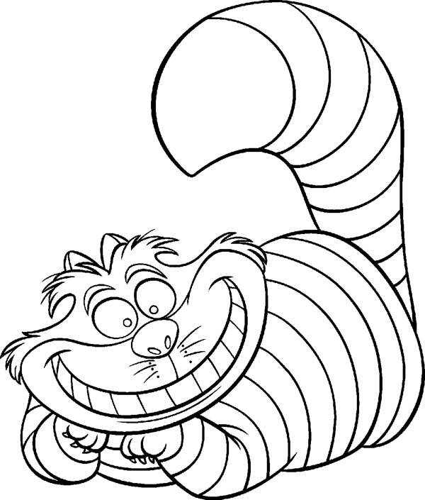 Alice in Wonderland Character Cheshire Cat Coloring Page
