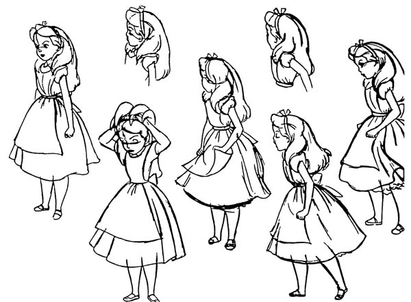 Alice in Wonderland Character Coloring Page Alice in