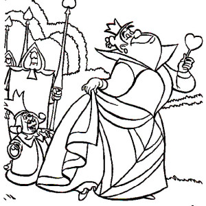 Alice in Wonderland Character King and Queen of Heart Coloring Page